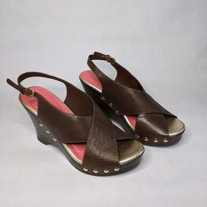 Lilly Pulitzer leather brown  wedge sandal 8.5